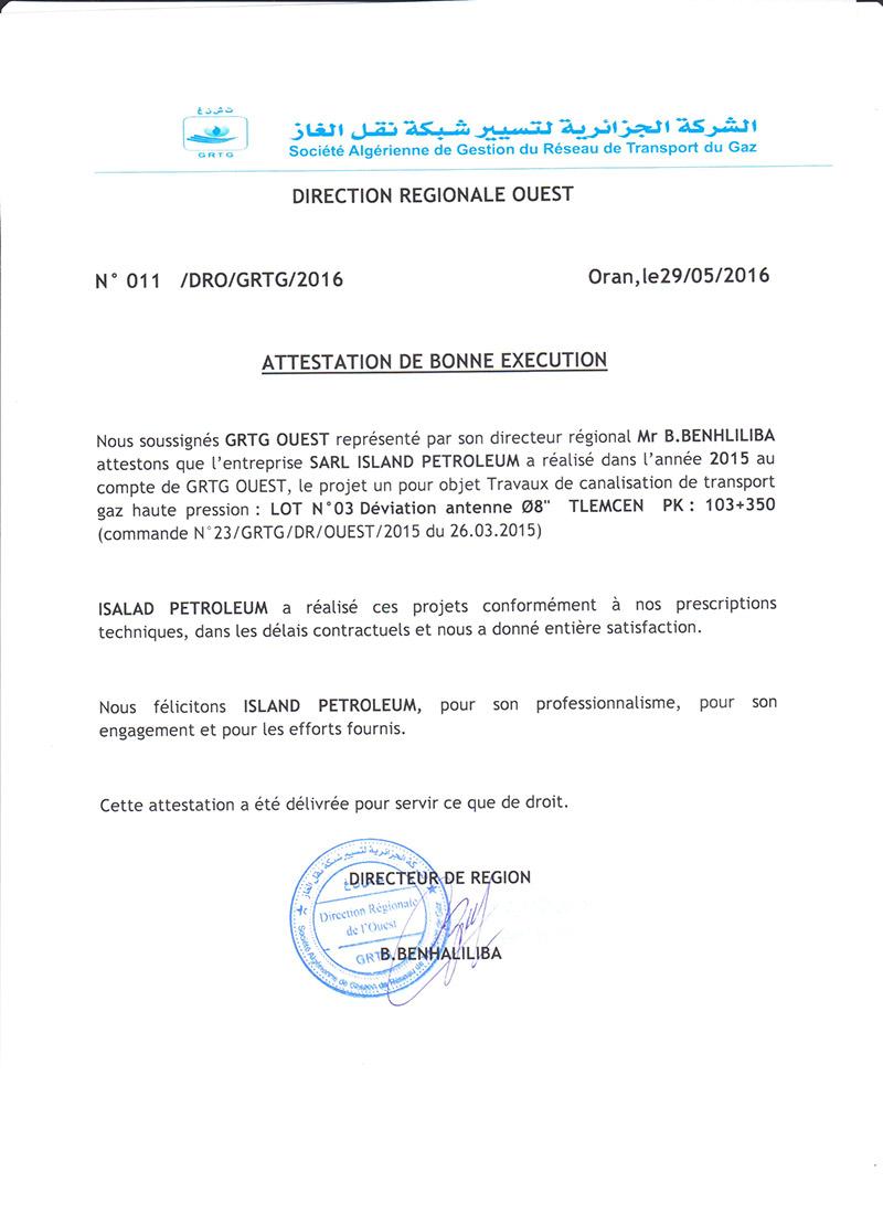 Attestations De Bonne Execution Island Petroleum
